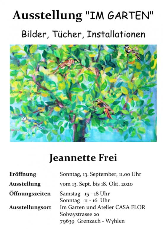 Plakat Ausstellung IM GARTEN Jeannette Frei 2020